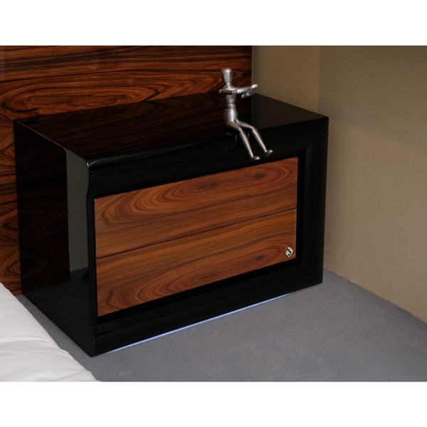 High gloss walnut and black bedside table with 2 drawers