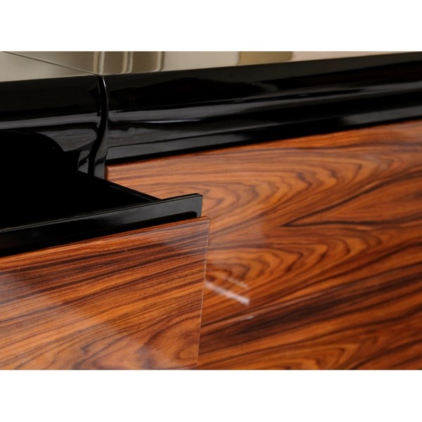 High gloss walnut and black chest of 3 drawers