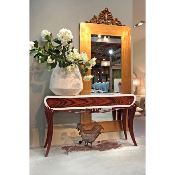 Designer Glossy walnut and white console table with 1 drawer