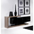 Walnut and black gloss sideboard with 4 doors