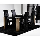 Walnut and black glass dining table