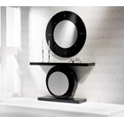 Black and silver circle console table