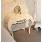 Luxury glossy 1 drawer bedside table with silver leaf