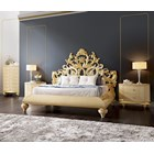 Gold and glossy cream carved royal queen bedstead with headboard