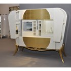 Remote controlled Glossy cream and gold leaf carving bar with refrigerator