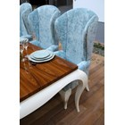 Duck egg blue shimmer velvet high back tall grand dining chair