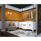 White and gold leaf sideboard with 4 doors and drawer inside