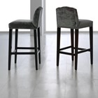 Carmel Upholstered Plush Velvet Grey Studed Bar Chair