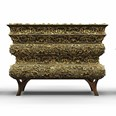 Carved Brass and Gold Leafed Chest Of Drawers