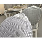 Glossy white and silver leaf dining chair with chequered grey fabric