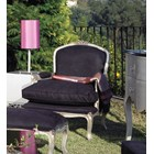 Black fabric and silver finish armchair