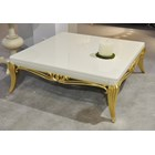Glossy cream and gold leaf carved square coffee table