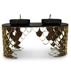 Double Brushed Brass And Nero Marquina Marble Wash Basin