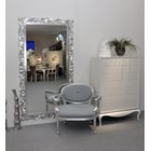 Rectangular Ornate silver leaf carved mirror