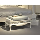 Opulent duck egg glossy white bench with silver leaf carving