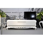French Glossy white and carved silver media unit