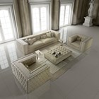 Grandeur Upholstered Natural Leather Button Tufted Sofa