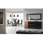 High Gloss Black Lacquered Rectangle Glass Top Dining Table