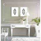 High Gloss White Lacquer Carved Silver Leaf Sylphlike Console Table