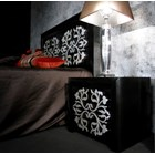 Black gloss and white detail side table with 2 drawers
