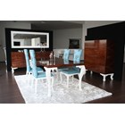 High gloss walnut dining table with white carved legs and duck egg blue chairs