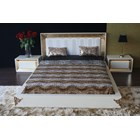 High gloss white bedstead with gold leaf carving and white headboard