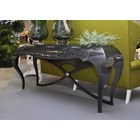 Carved designer cross legs glossy lead console table with drawer