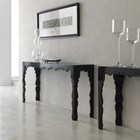 Louvre Carved Wood Black Lacquer Console Table
