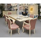 Glossy rustic distressed cream and gold leaf carving Pink dining armchair