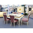 Extendable rustic cream dining table with gold leaf carving
