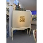 French glossy rustic cream bar cabinet with gold leaf carvings