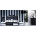 Luxus Upholstered Black And Silver Leaf Floating Bed With Silver Leaf Carvings