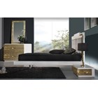 Luxus White And Gold Leafed Floating Bedstead