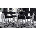 Luxus Carved Black And Silver Leaf Rectangle Dining Table
