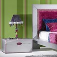 Luxus Silver And Pink Children's Bedside Table With Carvings