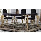 Luxus Carved Black and Gold Leaf Dining Table