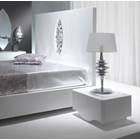 High gloss white bed with silver carving and mirror detail