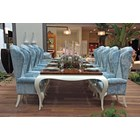 Luxury Glossy Ironwood Top Dining Table with French Cream Legs