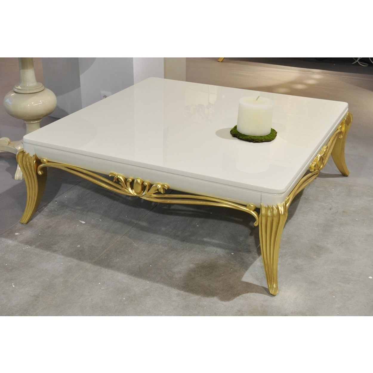 Picture of: Glossy Cream And Gold Leaf Carved Square Coffee Table