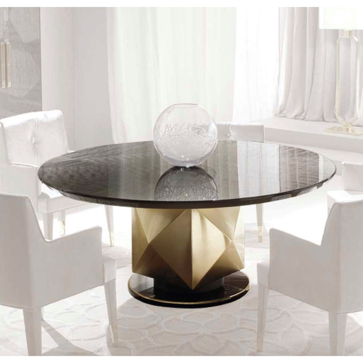 Round Magellan Dining Table With Mahogany Veneer Metal Base Touched Interiors
