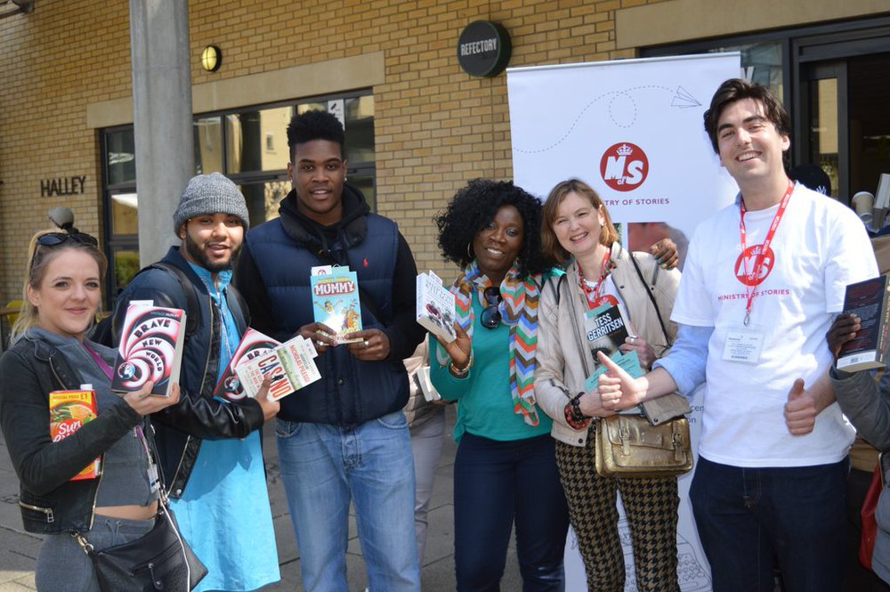 Large ministry of stories and penguin random house uk give out books at hackney community college