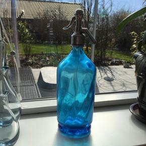 Fed fransk gammel sifonflaske med skrift - Randers - Fed fransk gammel sifonflaske med skrift turkis - Randers