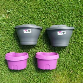Vægkrukker potter i plastik, de grå ny - Aalborg  - Vægkrukker potter i plastik, de grå nye og ubrugte, de lilla brugt. Hvis du lige mangler til flere blomster, dem kan man sjældent få for mange af