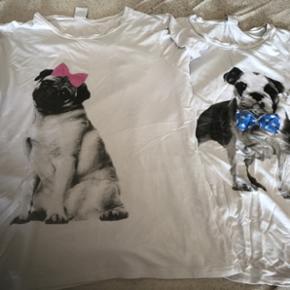 T - shirt m. Fransk bulldog og mops Mops - Roskilde - T - shirt m. Fransk bulldog og mops Mops str. Xl passes og af L Bulldog str. L Brugt 1 gang Byd - Roskilde
