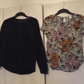 Sweatshirt, med læder kant og mønster. - Esbjerg - Sweatshirt, med læder kant og mønster. Str. xs - 50 kr T-shift, med blomster. Str. 38 - 75 kr - Esbjerg