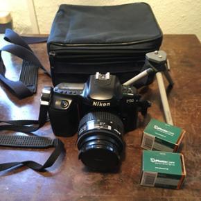 Lækkert ældre analog kamera fra Nikon  - Århus - Lækkert ældre analog kamera fra Nikon inklusiv 2 film, trefod fra Hama og original taske Der medfølger også original manual. BYD!! - Århus