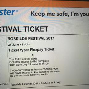 Jeg sælger min billet til Roskilde fest - København - Jeg sælger min billet til Roskilde festival, da jeg skal være frivillig i stedet Hvis man hellere vil have billetten i hånden, er der mulighed for at mødes i Odense eller København :) Højeste bud er pt. 1800 (muligvis solgt) - København