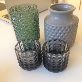 Diverse nips, lysestager til fyrfadslys  - Århus - Diverse nips, lysestager til fyrfadslys Sæt 10,- grøn glasvase 10,- potte/vase 5,- Intet af det er brugt - Århus