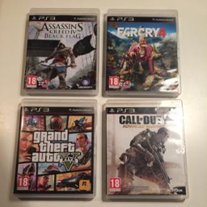 PS3 spil - 4 stk. GTA - Call of duty - a - Odense - PS3 spil - 4 stk. GTA - Call of duty - assassins creed Black flag - farcry 4 - Odense