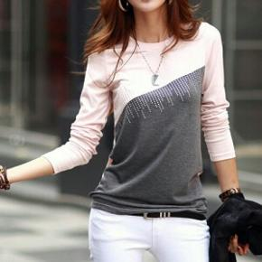 COTTON BLOUSE GRAY/PINK. STR. SMALL. HEL - København - COTTON BLOUSE GRAY/PINK. STR. SMALL. HELT NY - København